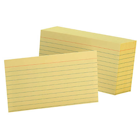 "Oxford® Color Index Cards, Ruled, 3"" x 5"", Canary, Pack Of 100"