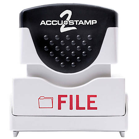 """ACCU-STAMP2® Pre-Ink Message Stamp, """"File"""", Red"""