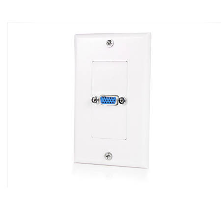 StarTech.com Single Outlet 15-Pin Female VGA Wall Plate - White - 1-gang - HD-15 VGA - White