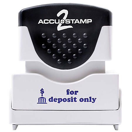 "ACCU-STAMP2® Pre-Ink Message Stamp, ""For Deposit Only"", Blue"