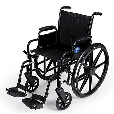 "Medline Excel K3 Lightweight Wheelchair, Swing Away, 16"" Seat, Black"
