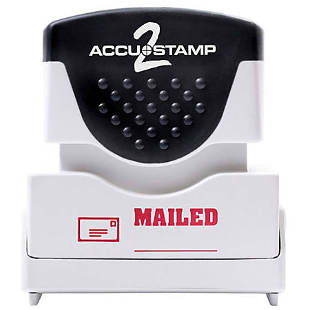 """ACCU-STAMP2® Pre-Ink Message Stamp, """"Mailed"""", Red"""