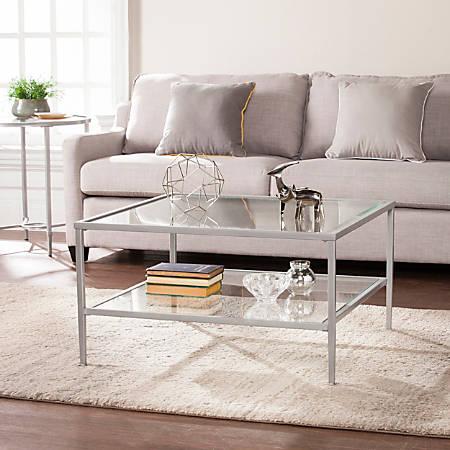 Southern Enterprises Keller Square Metal/Glass Open-Shelf Cocktail Table, Rectangular, Clear/Silver