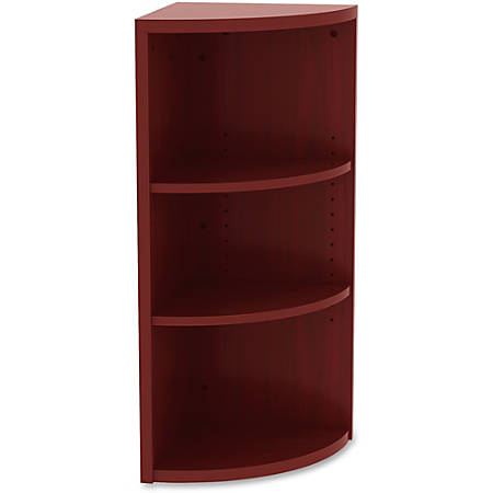 "Lorell® Essentials Series 36""H 3-Shelf Corner Bookcase, Mahogany"