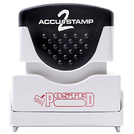 """ACCU-STAMP2® Pre-Ink Message Stamp, """"Posted"""" with Box, Red"""