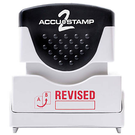 """Accu-Stamp2® Pre-Ink Message Stamp, """"Revised"""", Red"""