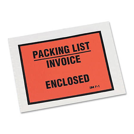 3M™ Full View Packing List/Invoice Enclosed Envelopes, Orange, Case Of 1,000 Envelopes