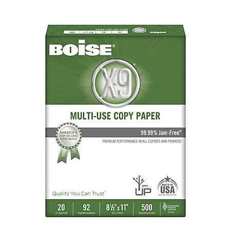 "Boise® X-9® Multi-Use Copy Paper, SFI Certified, Letter Size (8 1/2"" x 11""), 92 (U.S.) Brightness, 20 Lb, Ream Of 500 Sheets"