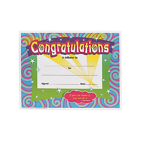 "Trend Congratulations/Swirls Award Certificates - 8.50"" x 11""30 / Pack"