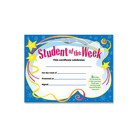 """Trend Student of The Week Award Certificate - 8.50"""" x 11""""30 / Pack"""