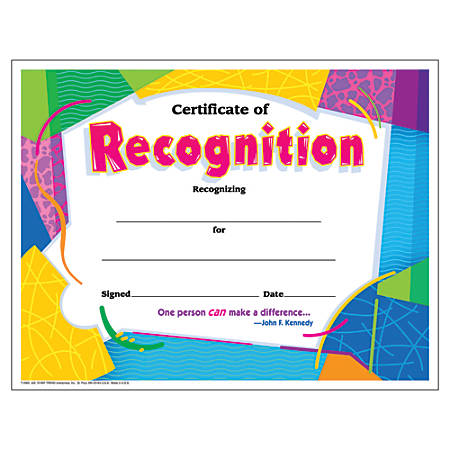 "Trend Certificate of Recognition - 8.50"" x 11""30 / Pack"