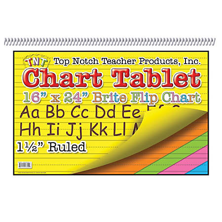 "Top Notch® Brite Chart Tablets, 16"" x 24"", 1 1/2"" Ruled, Assorted Colors, Pack Of 3"