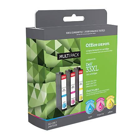 Office Depot® Brand ODD33XLMP (Dell Series 33XL) Remanufactured High-Yield Cyan/Magenta/Yellow Ink Cartridges