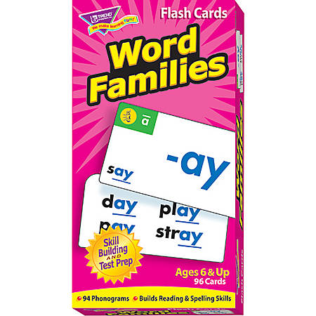 Trend® Skill Drill Flash Cards, Word Families, Set Of 96
