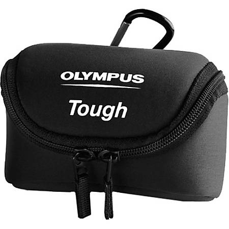 "Olympus Tough Carrying Case Camera - Black - Weather Proof - Neoprene - Belt Loop, Carabiner Clip - 3"" Height x 5"" Width x 1.8"" Depth"