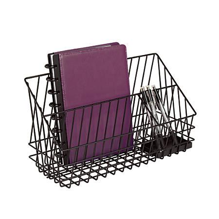 "Realspace™ 3-Compartment Wire Desk Caddy, 7 1/4""H x 12 3/4""W x 5 3/8""D, Black"