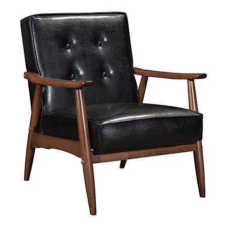 Zuo Modern Rocky Arm Chair, Black/Walnut