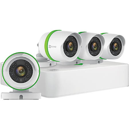 EZVIZ Smart Home 4-Channel Surveillance System with 4 Weather-Resistant Full-HD 1080p Cameras And 1TB Hard Drive, BD1424B1