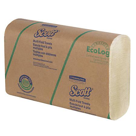 "Scott® Multi-Fold Paper Towels, 9 1/5"" x 9 2/5"", Soft Wheat, 250 Sheets Per Pack, Carton Of 16 Packs"