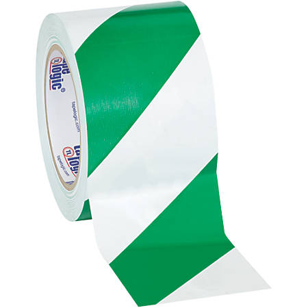 "BOX Packaging Striped Vinyl Tape, 3"" Core, 3"" x 36 Yd., Green/White, Case Of 3"