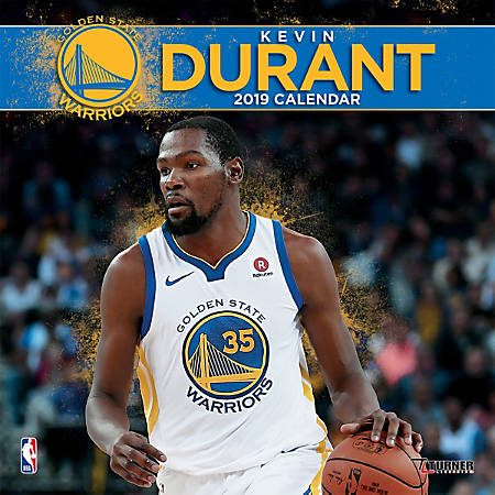 "Turner Sports Monthly Wall Calendar, 12"" x 12"", Golden State Warriors Kevin Durant, January to December 2019"