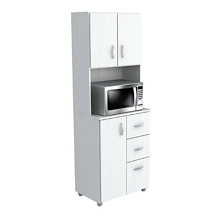 """Inval Storage Cabinet With Microwave Stand, 4 Shelves, 66""""H x 24""""W x 15""""D, Laricina White"""