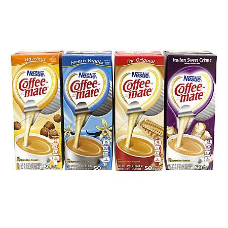 Coffee Mate Creamer Singles, Variety Pack, 50 Singles Per Pack, Case Of 4 Packs