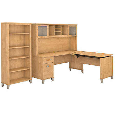 """Bush Furniture Somerset 72""""W 3 Position Sit to Stand L Shaped Desk With Hutch And Bookcase, Maple Cross, Standard Delivery"""