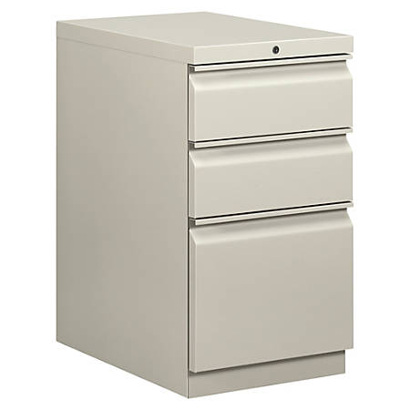 """basyx® by HON® Mobile Pedestal Vertical Filing Cabinet, 3 Drawers, 28""""H x 15""""W x 20""""D, Light Gray"""