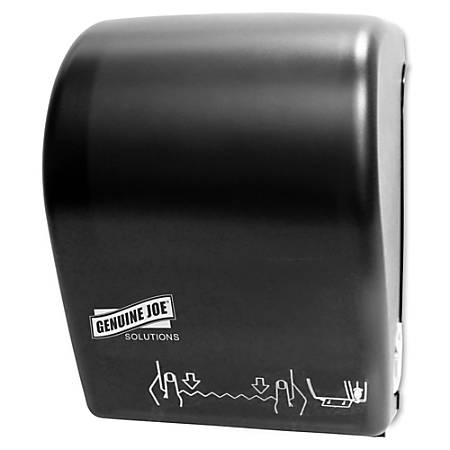 Genuine Joe Solutions Touchless Hardwound Towel Dispenser - Touchless, Hardwound Roll - Black - Touch-free