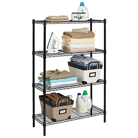 "Realspace® Wire Shelving, 4-Shelves, 54""H x 36""W x 14""D, Black"
