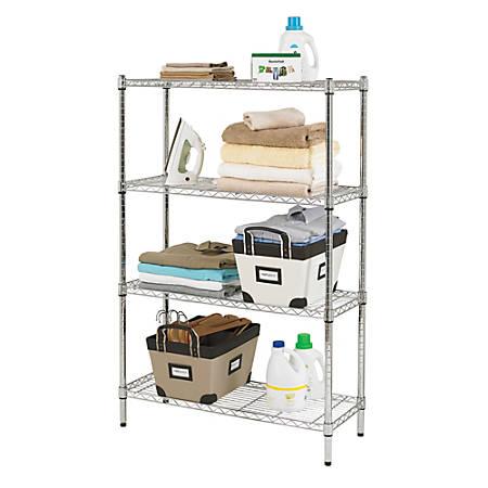 "Realspace® Wire Shelving, 4-Shelves, 54""H x 36""W x 14""D, Chrome"