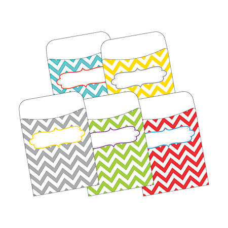"Barker Creek Peel & Stick Library Pockets, 3 1/2"" x 5 1/8"", Chevron Beautiful, Pack Of 30"