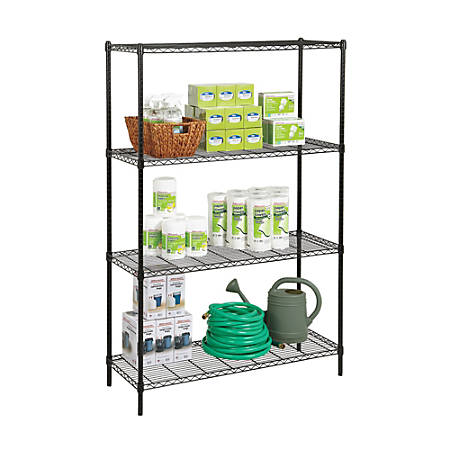 "Realspace® Steel Wire Shelving, 4-Shelves, 72""H x 48""W x 18""D, Black"