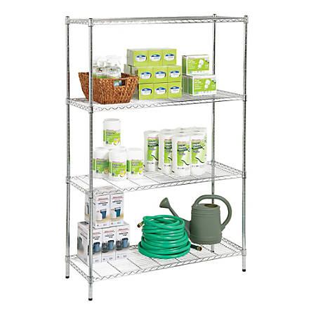 "Realspace® Wire Shelving, 4-Shelves, 72""H x 48""W x 18""D, Chrome"