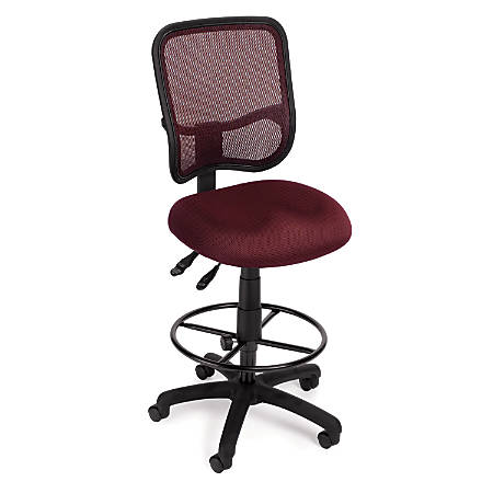 OFM Mesh Comfort Series Fabric Ergonomic Task Chair With Drafting Kit, Wine/Black