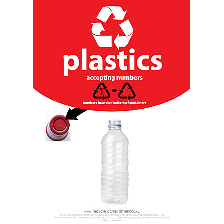"Recycle Across America Plastics With Number Standardized Recycling Label, PLASS#-1007, 10"" x 7"", Red"