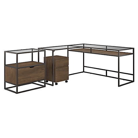 """Bush Furniture Anthropology 60""""W Glass Top L-Shaped Desk With File Cabinets, Rustic Brown Embossed, Standard Delivery"""