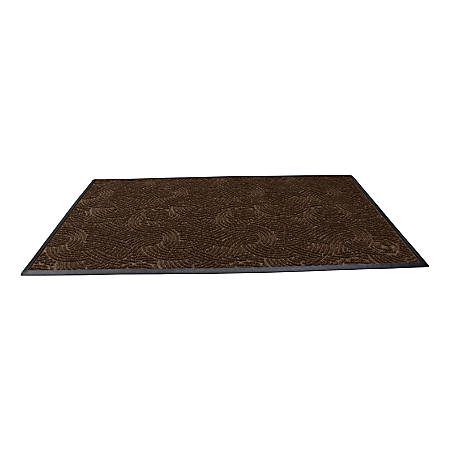 "Waterhog Plus Swirl Floor Mat, 48"" x 72"", 100% Recycled, Chestnut Brown"