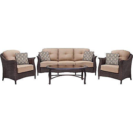 "Hanover Gramercy 4-Piece Seating Set in Country Cork - GRAMERCY4PC - 35"" x 80"" x 32"" Sofa, 35"" x 32"" x 32"" Chair, 23"" x 46"" x 18"" Coffee Table - Material: Steel Frame, Resin Wicker, Polyvinyl Chloride (PVC), Tempered Glass Table Top, Plush Cushion"