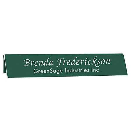 "Acrylic Engraved L-Shaped Sign, Table Tent, 2"" x 10"""