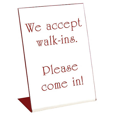 """Acrylic Engraved L-Shaped Sign, Pedestal, 8"""" x 6"""""""