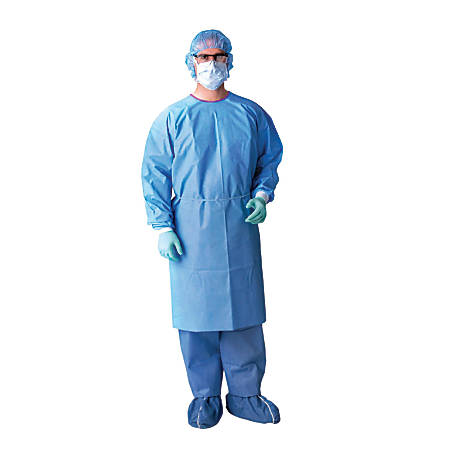 Medline AAMI Level 3 Isolation Gowns, X-Large, Blue, Case Of 50