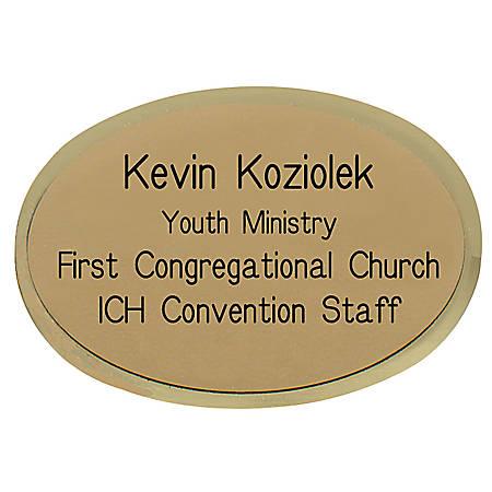 "Custom Engraved Metal Name Badge, 1-3/4"" x 2-1/2"", Gold"