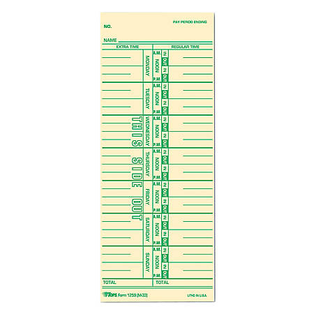"TOPS® Time Cards (Replaces Original Card M33), Named Days, 1-Sided, 9"" x 3 1/2"", Box Of 500"