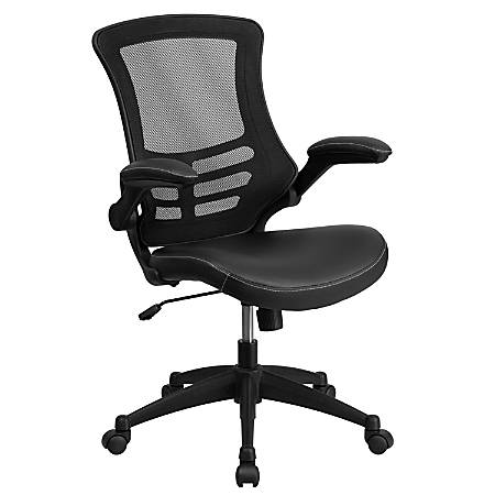 Flash Furniture Leather Mid-Back Swivel Chair With Flip-Up Arms, Black