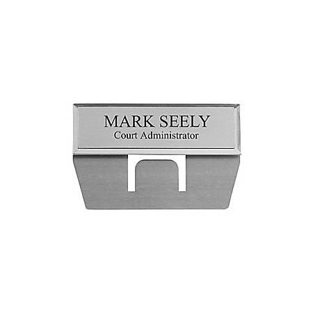 "Custom Engraved Metallic Pocket Name Badge, 3/4"" x 2-3/4"", Silver"