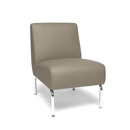 OFM Triumph Series Armless Lounge Chair, Taupe/Chrome