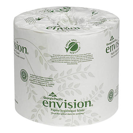 GP PRO Envision® 2-Ply Embossed Bathroom Tissue, 100% Recycled, White, 550 Sheets Per Roll, Case Of 80 Rolls