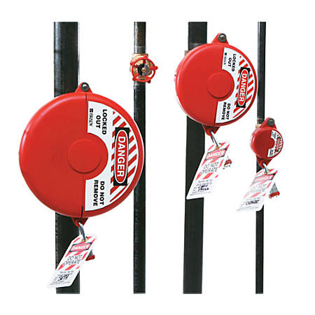 Gate Valve Lockouts, 1 in - 2 1/2 in Handle Size, Red